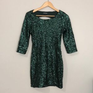 Express Emerald Green Sequin Fitted Dress